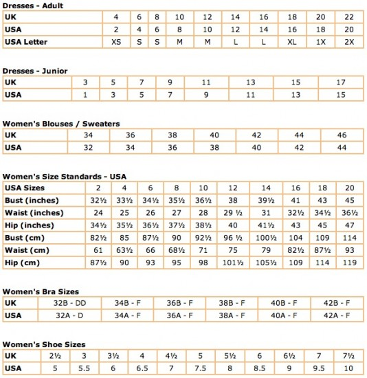 UK - USA Clothing and Shoe Size Conversions - theDIBB