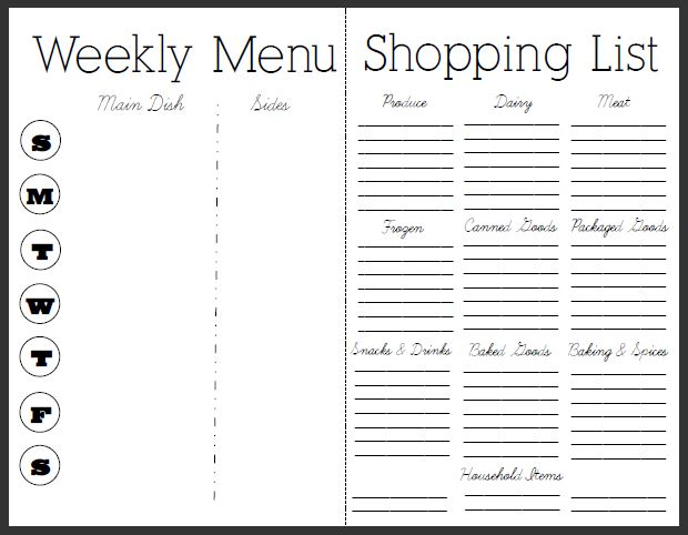weekly diet menu planner and grocery list - Onwebioinnovate - meal planning template with grocery list