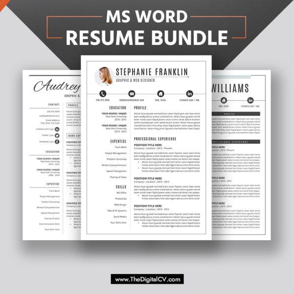 2019-2020 Resume Bundle, CV Bundle for Digital Instant Download, for