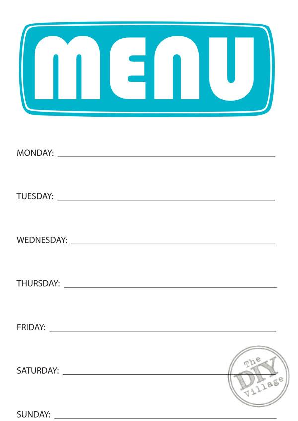 Free Printable Weekly Menu Planner - The DIY Village - free printable weekly planner
