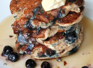 Whole Wheat Blueberry Yogurt Pancakes | thedomesticblonde.com