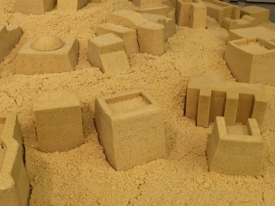 Close-up of the buildings made of couscous.