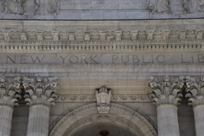 Detail of the NYPL building (photo by David).