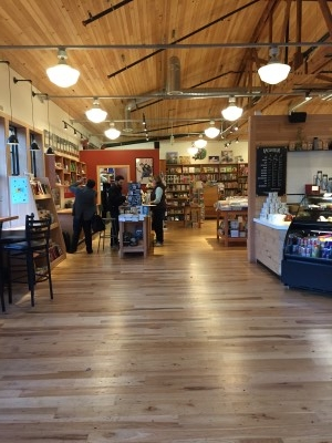 The bookstore to the left. Love the hardwood floors and expansiveness of the place.