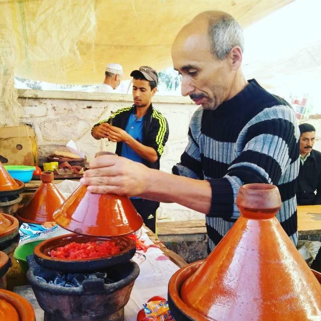 Breakfast in the market in Imintanout is a cookyourown affairhellip