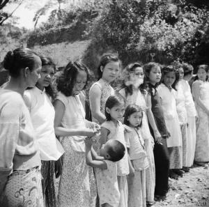 The Allied Reoccupation of the Andaman Islands, 1945 Chinese and Malayan girls forcibly taken from Penang by the Japanese to work as 'comfort girls' for the troops. Source.