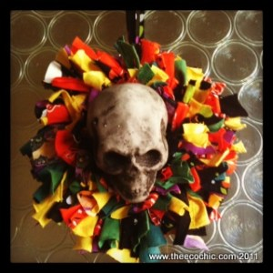tshirt scrap wreath halloween