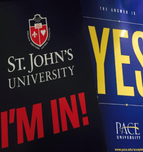 Acceptance letters from Pace University and St. John's University.