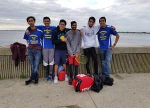 Edison's tennis team after their victory against Beach Channel High School.