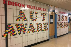 Caption: SkillsUSA decorated Edison hallways in signs and posters to promote Autism Awareness.  Photo Credit: Aneesa Asgarali