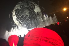 Students From Key Club and Volunteers Raise Lanterns Around Flushing Meadows Globe in order to show support. Credit: Satbir Singh
