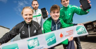"""No Repro Fee 9/3/2016 Picture shows from left Carolyn Hayes,Triathlon Ireland;Gerard O'Donnell,Athletic Association of Ireland;Tom O'Brien, Pentathlon Ireland; and Oliver Dingley,Swim Ireland as The Federation of Irish Sport (FIS) and the Vodafone Ireland Foundation  launch 'Game Day', a new app that allows the public to locate their nearest club for over 30 sports¹ organisations including IRFU, Swim Ireland and Athletics Ireland nationwide. This new venture is the brainchild of four-time All Star Dublin Footballer, Sinead Goldrick, who came up with the creative idea of the Game Day app after winning an internal Vodafone competition. The aim of the competition is to encourage social innovation while 'Connecting for Good' in their Workplace. The app uses location-based services and GPS technologies to create a grassroots network of sports clubs across every county in Ireland. The app is part of a wider FIS """"Game Day"""" initiative to encourage and facilitate participation in sport at local level throughout Ireland and has been developed by the Federation of Irish Sport (FIS) and the Vodafone Ireland Foundation, Vodafone Ireland's philanthropic arm. The app currently holds the details of over 2,000 sports clubs and their associated National Governing Bodies nationwide. Clubs can sign up and can create their own profile for free on the Game Day website – www.gamedayapp.ie Pic:Naoise Culhane-no fee Ireland's sports clubs now at our fingertips Federation of Irish Sport and Vodafone Ireland Foundation  Launch Club Finder App"""