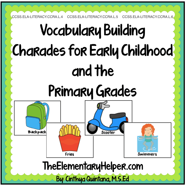 The Special Education Charade >> Charades For Vocabulary Building The Elementary Helper