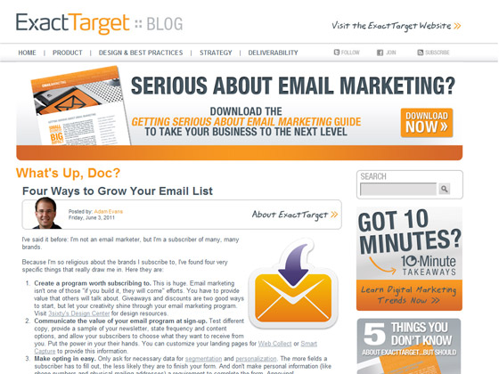 Exact Target \u2013 Four Ways to Grow Your Email List Email Marketing