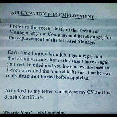 Funniest Job Cover Letter ever? TheEmployable