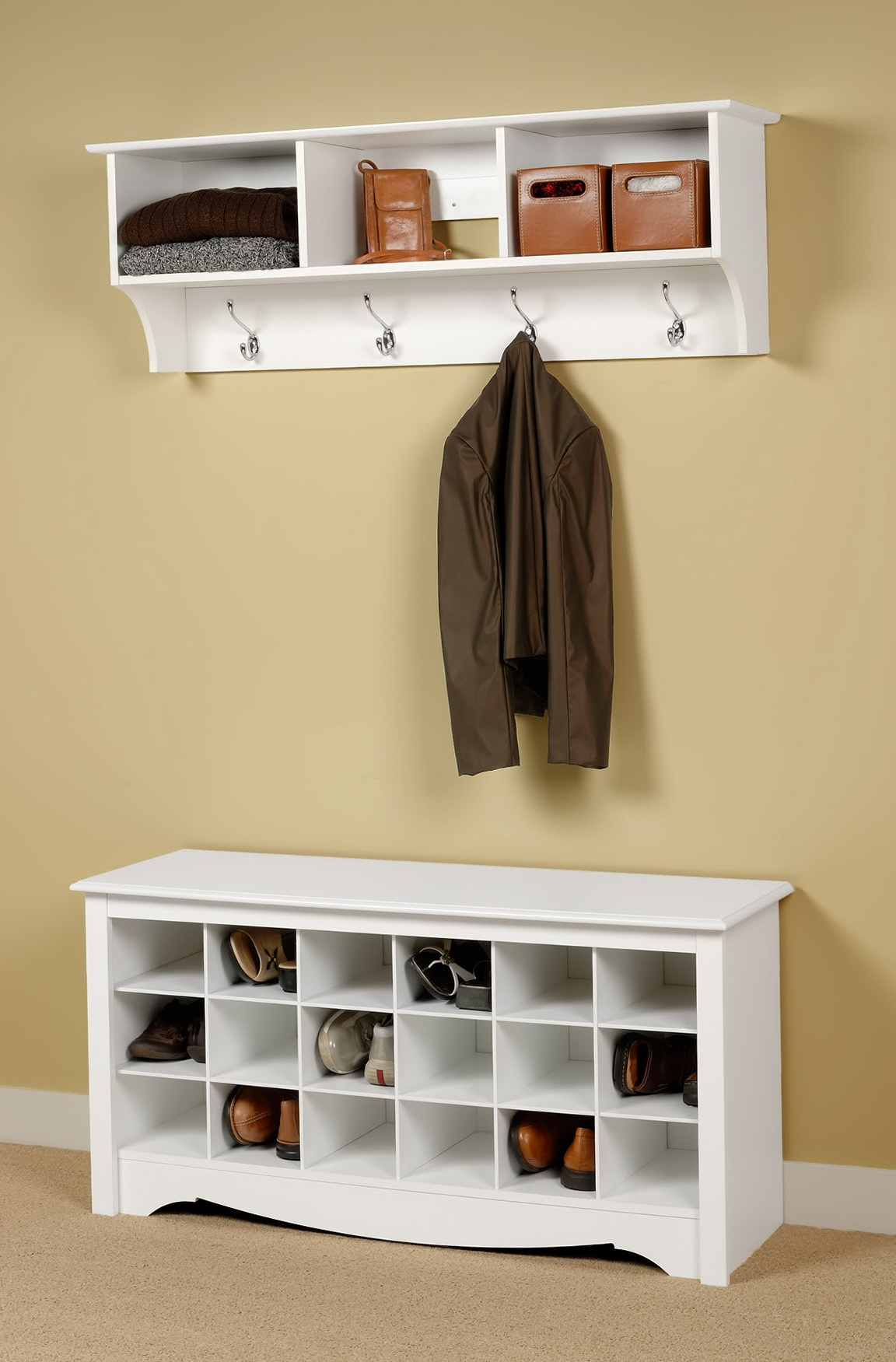 Entryway Bench With Shoe Storage And Coat Rack Home