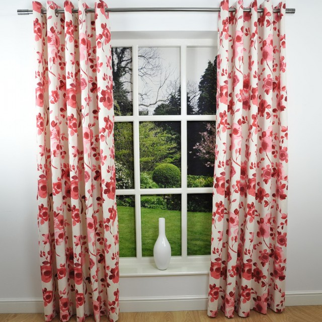 Black And Red Curtains Made Eyelet Curtains Uk Poppy Ready Made - red curtains for living room