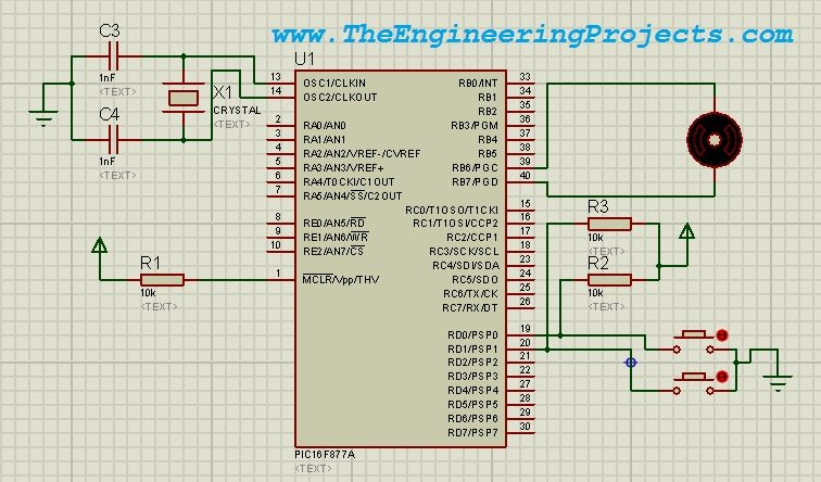 DC Motor Drive Circuit in Proteus ISIS - The Engineering Projects