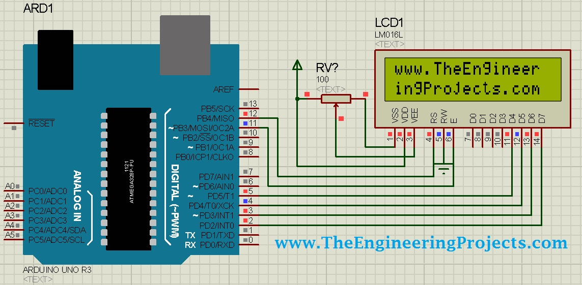 Circuit Designing of LCD with Arduino in Proteus ISIS - The