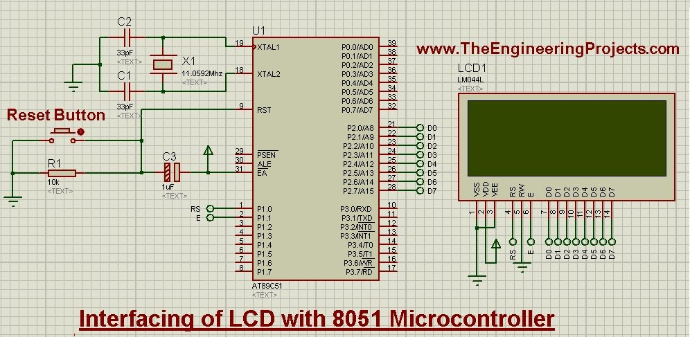 Interfacing of LCD with 8051 Microcontroller in Proteus ISIS - The