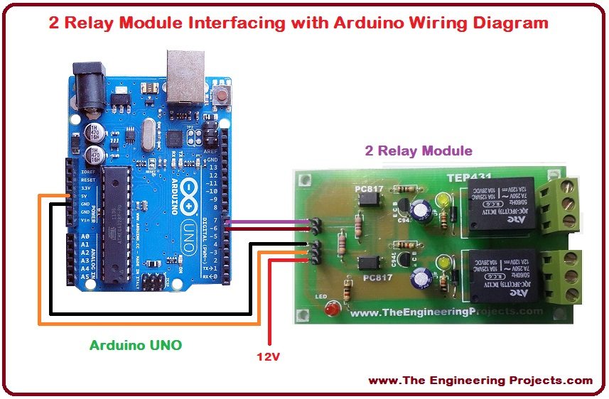 2 Relay Module Interfacing with Arduino - The Engineering Projects
