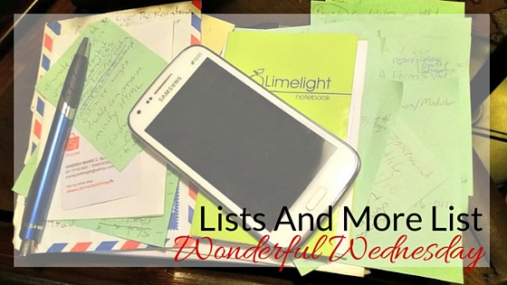 Lists - Wonderful Wednesday