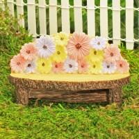 Flower Garden Bench, Pretty Flower Design, Wooden Effect