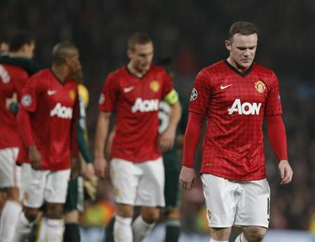 Manchester United's Wayne Rooney reacts after the Champions League soccer match against Real Madrid at Old Trafford stadium in Manchester