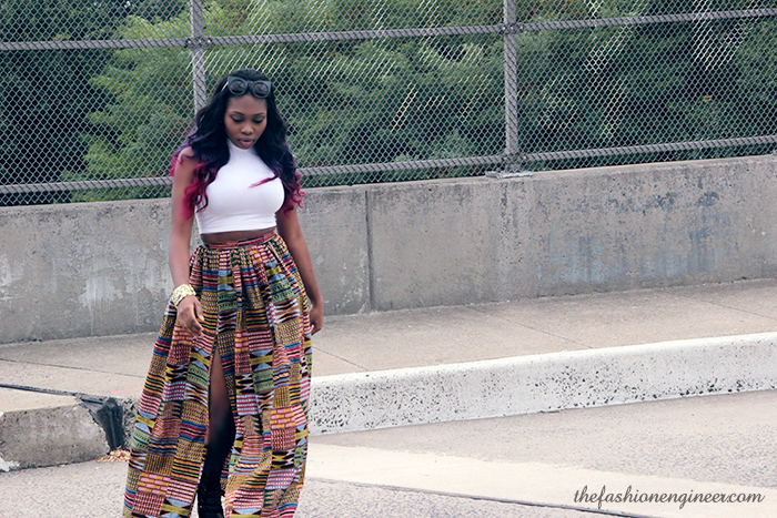 What I Wore: Crop Top and Ankara Maxi Skirt with Slit