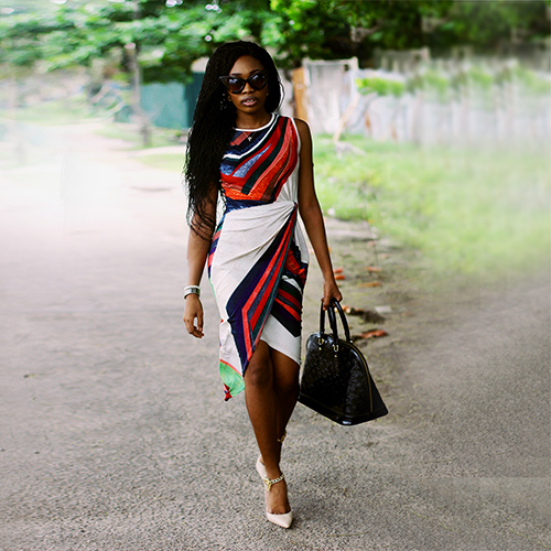 What I Wore: Jumia Wrap Dress + Chain Accent Heels
