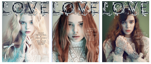 Elle Fanning, Chloe Moretz & Hailee Steinfeld - Love #6 by Mert & Marcus, Fall/Winter 2011