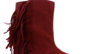 Go Jane Suede Fringe Wedge Booties
