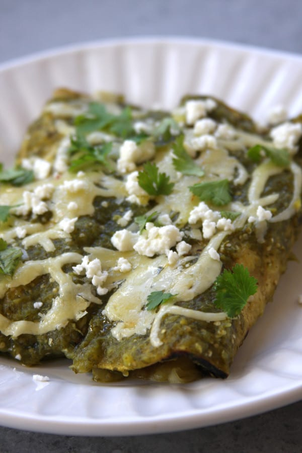 Lightened Up Salsa Verde Chicken Enchiladas - The Fed Up ...