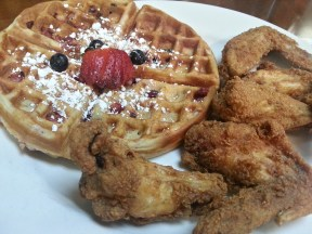 Chicken and Big Berry Mix Waffle (up close and personal)