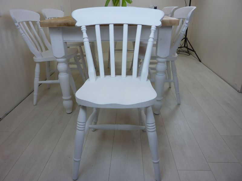 5ft Pine Farmhouse Table And 6 Beech Chairs Painted