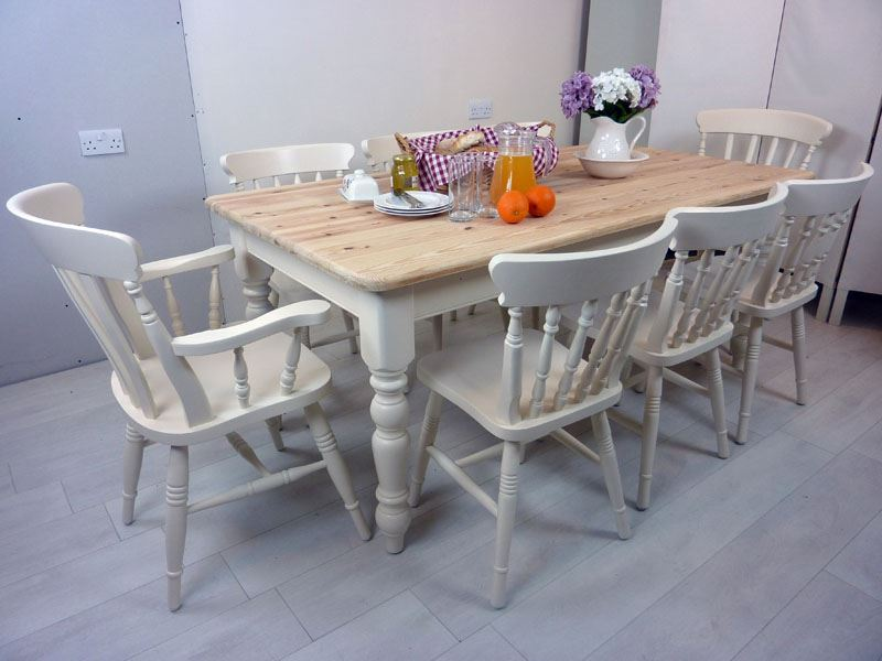 6ft Pine Farmhouse Table And 8 Chairs Painted Vintage