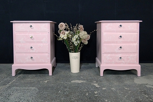 Pair Of Stag 4 Drawer Bedside Tables Rose Quartz Painted