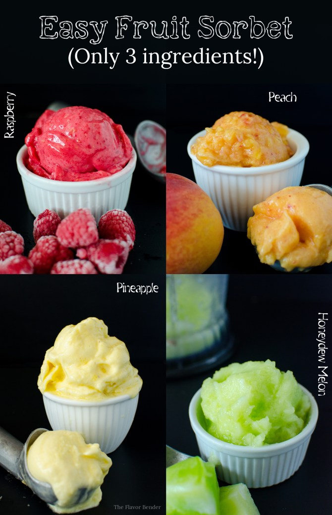 ... Sorbet! Raspberry Sorbet, Peach Sorbet, Honeydew Melon Sorbet, and