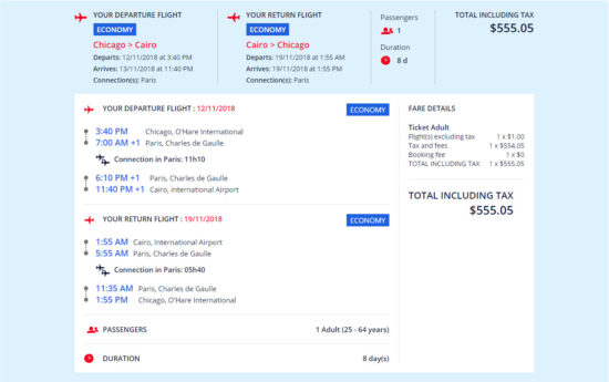 The Flight Deal Air France 555 Chicago Cairo