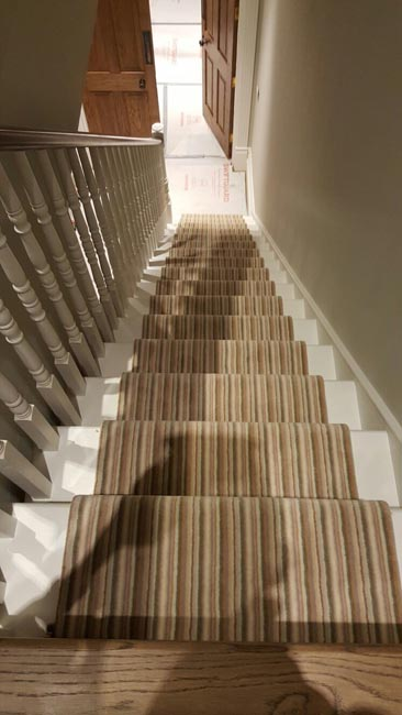 Stairs Striped Carpet Brass Stairrods The Flooring Group