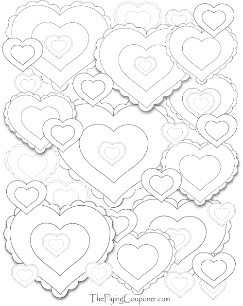 Colouring Pages for Adults and Kids. Heart Heart Heart.