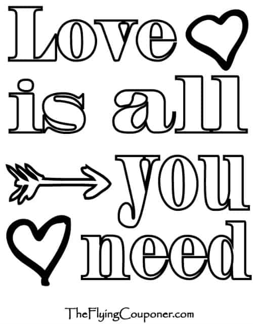 Colouring Pages for Adults and Kids. Love is all you need.