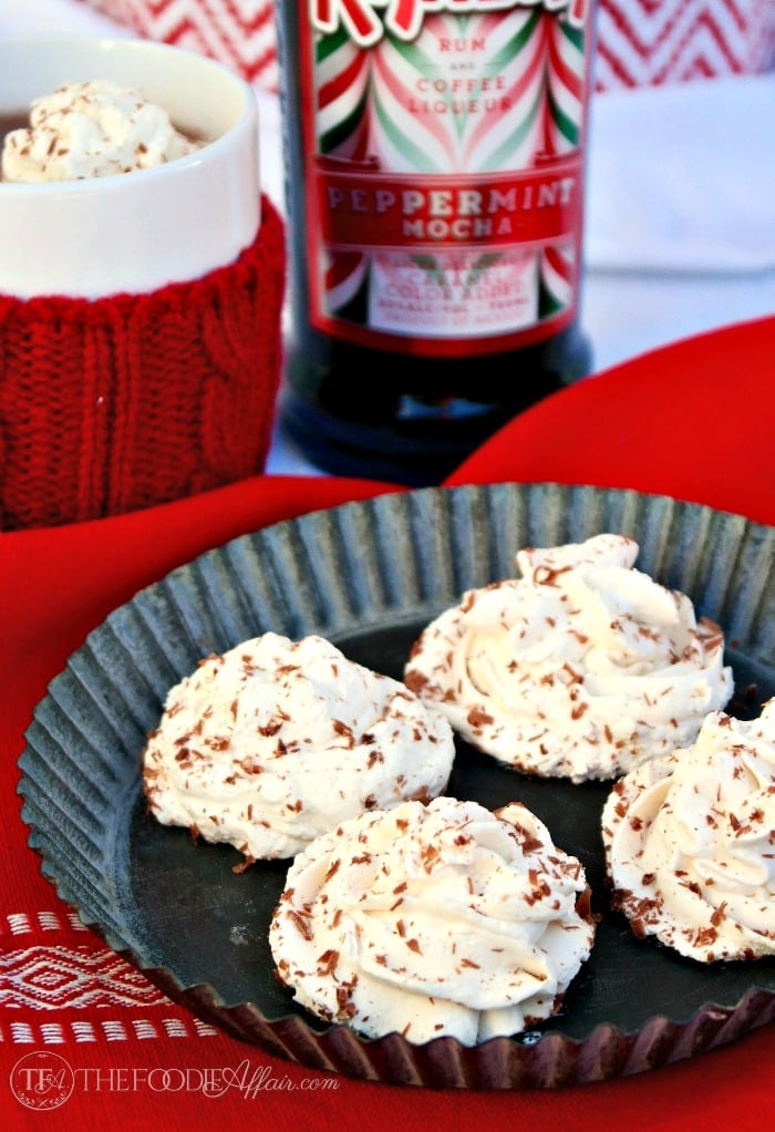 with a dollop of creamy peppermint mocha frozen whipped cream