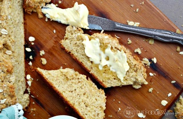 Irish Brown Soda Bread with whole wheat pastry flour, wheat germ, old-fashioned oats and brown sugar! This hearty and flavorful bread is fabulous right out of the oven with butter! The Foodie Affair