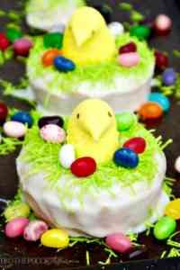 Peeps Baked Lemon Cake Donuts perched in nests are the perfect treats to add to your Easter brunch menu! Fresh lemon flavor that is sweet and slightly mouth puckering! The Foodie Affair