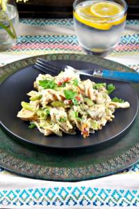 Lightened-Up Chicken Vegetable Casserole with chickpea noodles and a flavorful light creamy cheese sauce. The Foodie Affair