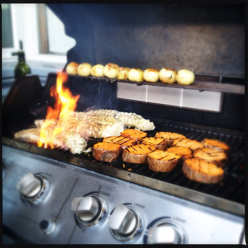 Grilling monkfish unions and sweet potatoes
