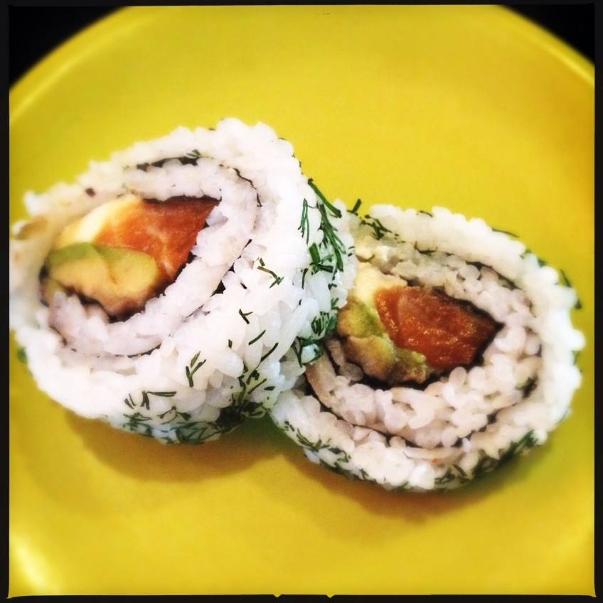 Salmon maki, avocado, cream cheese and dill
