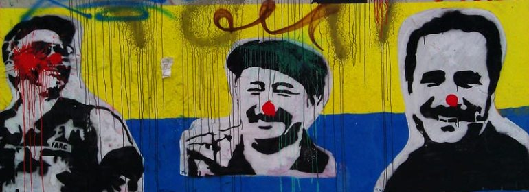 Graffiti showing the top leaders of the Colombian revolutionary group FARC