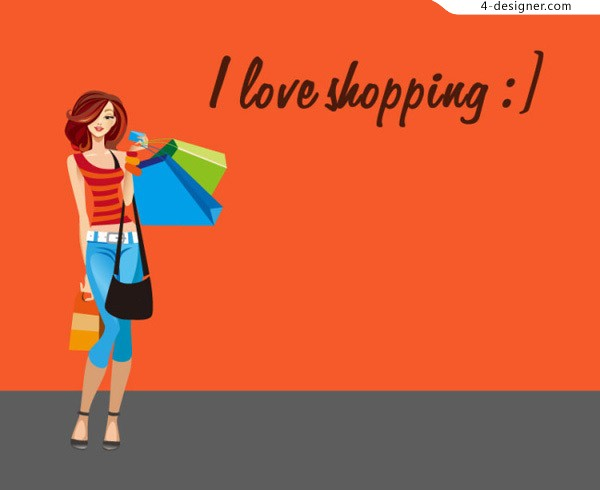 cartoon-fashion-shopping-woman-vector-material-free-download-33406